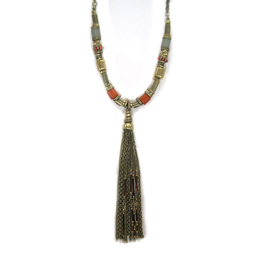 Antiqued Bronzed Beauty Tassel Necklace 2