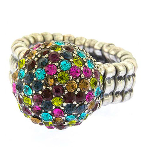 Pave Jewel Tone Pom Pom Ring 1
