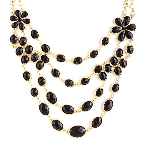 Jet Black and Gold Layered Floral Necklace