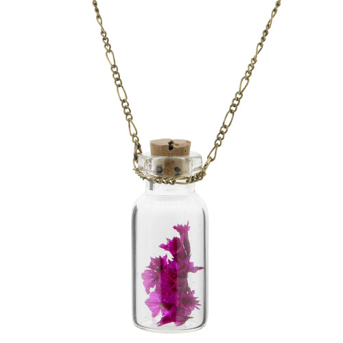 Fuchsia Flowers in a Jar Necklace