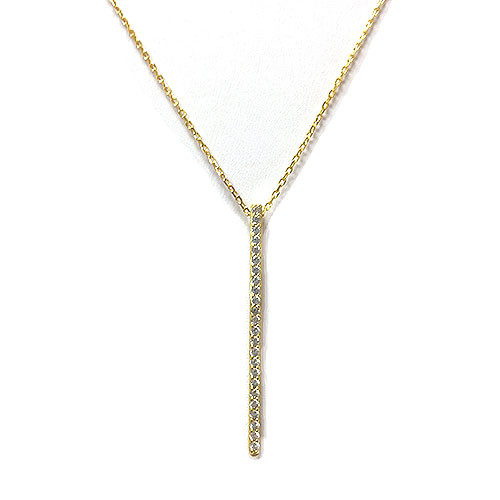 Vermeil Vertical C.Z. Bar Necklace