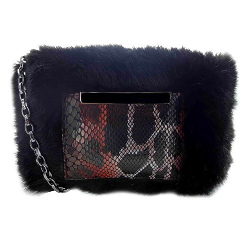 Sondra Roberts Faux Fur and Python Cross Body