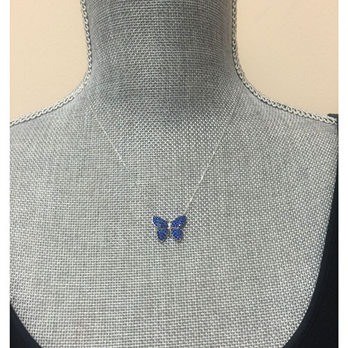 Sapphire Blue Pave Crystal Butterfly Necklace