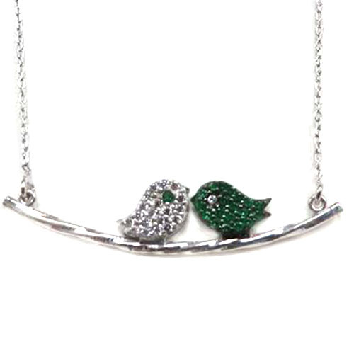 Emerald and Clear Love Bird Necklace