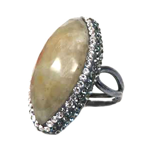 Moss Agate Marquis Ring