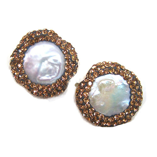 Mother-of-Pearl with Light Colorado Topaz Crystal Studs