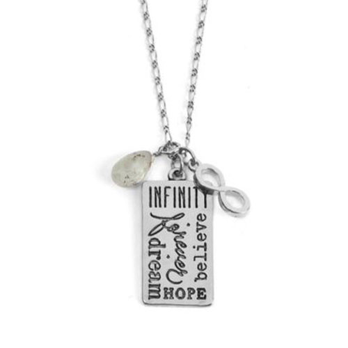 Infinity and Hope Silver Charm Necklace
