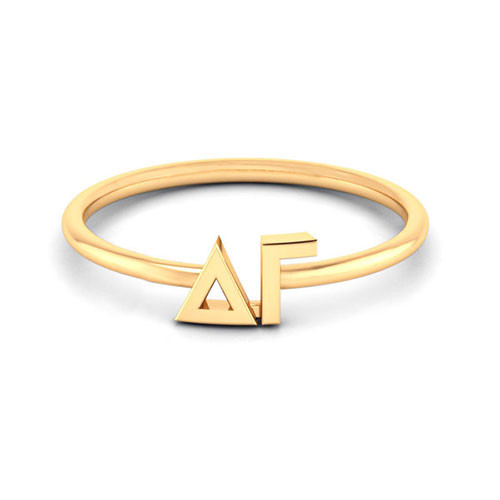 Delta Gamma  Gold Thin Band Letter Ring