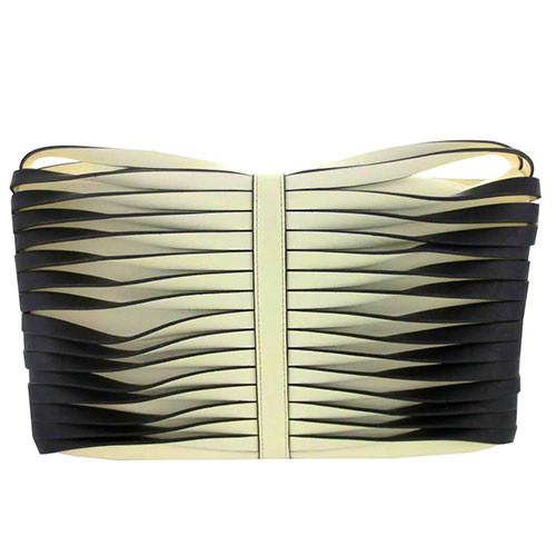 Sondra Robert's Twisted Nappa Fold Over Clutch White/Black