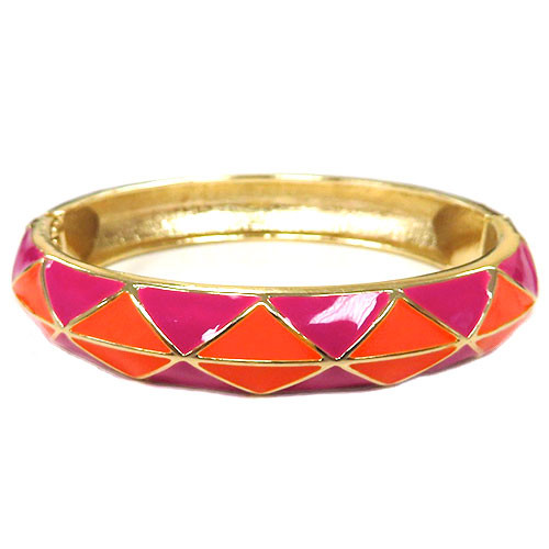 Harlequin Fuchsia and Coral Bangle