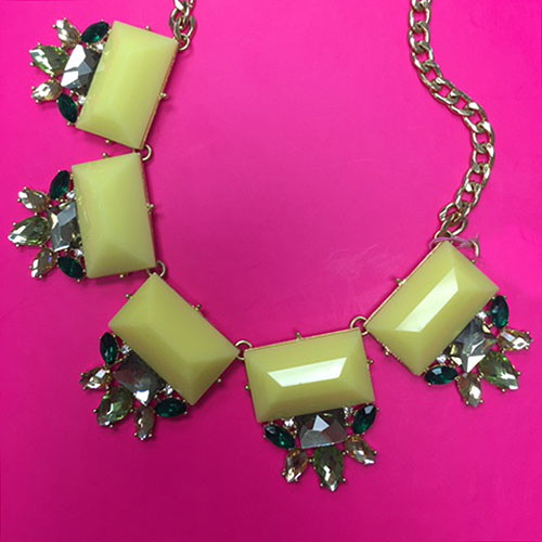 Yellow Emerald Cut Stone Necklace