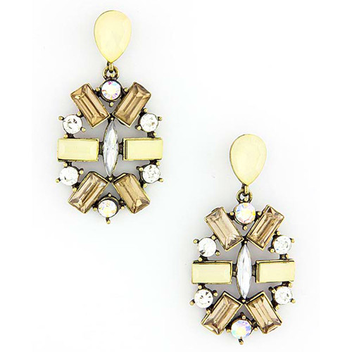 Jeweled Medallion Earring Tan