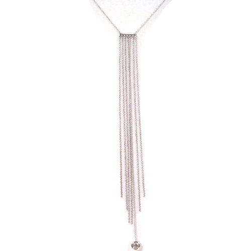 Silver Waterfall Chain Necklace with C.Z. Bar and Solitaire