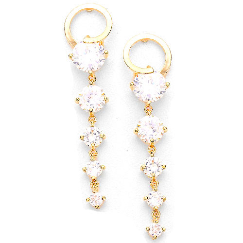 Modern Graduated C.Z. Earring in Gold