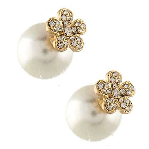 Gold Daisy 360 Pearl Studs