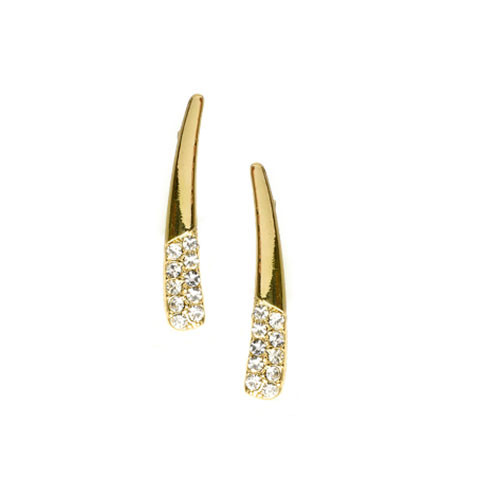 Half Pave Gold Crawler Earring