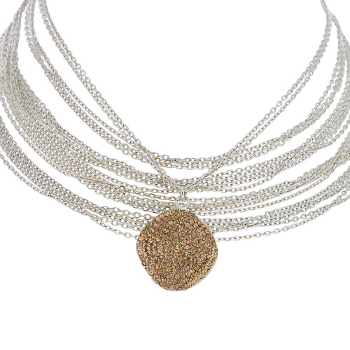Silver Chains with Golden Topaz Medallion