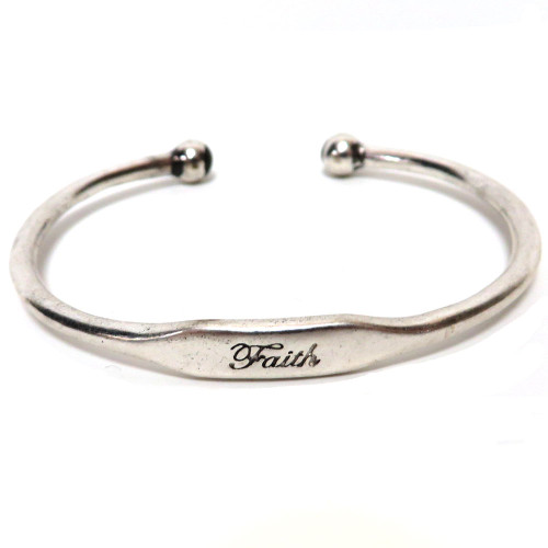 Stamped Faith Bracelet Silver