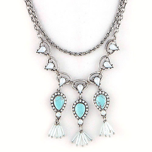 Turquoise Teardrops & Layered Antiqued Chains