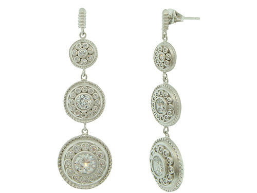 Freida Rothman's Triple Shield Dangle Earrings S