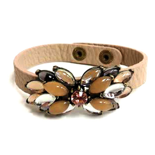 Neutral Flower Leather Bracelet