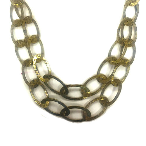 Antiqued Brass Layered Oval Links Necklace