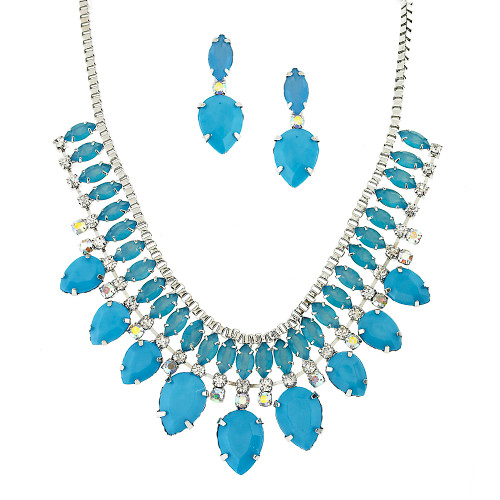 Blue Crystal Statement Set