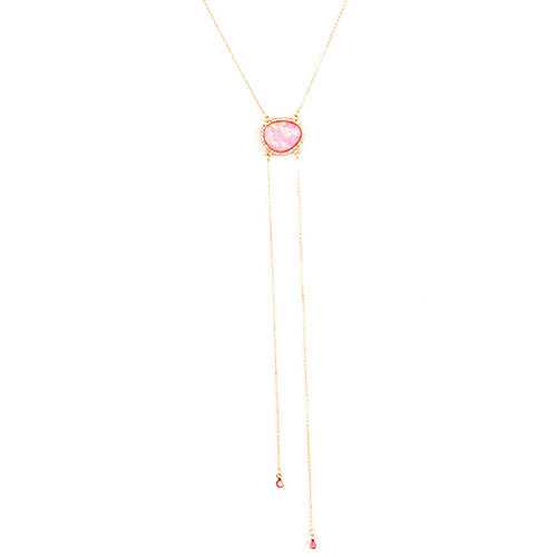 Pink Opal Resin Bolo Necklace