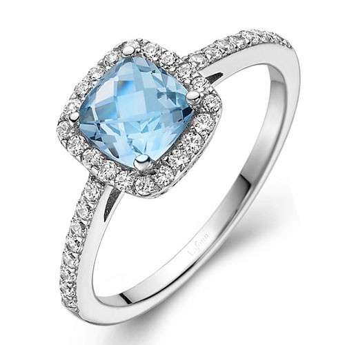 Lafonn's Faceted Square Sky Blue Topaz Princess Ring