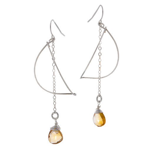 Zia's Silver Petal and Citrine Crystal Drop Earrings