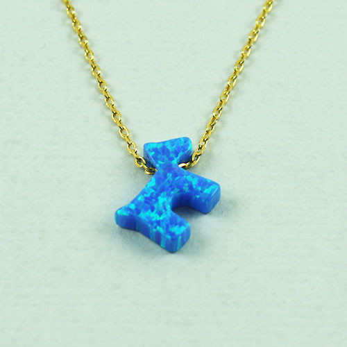 Blue Opal Resin Puppy Necklace