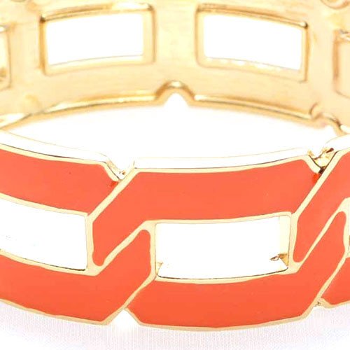 Flat Linked Cuff Bracelet Orange