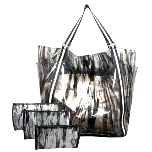 Sondra Roberts's Printed Black and Clear Jelly Tote