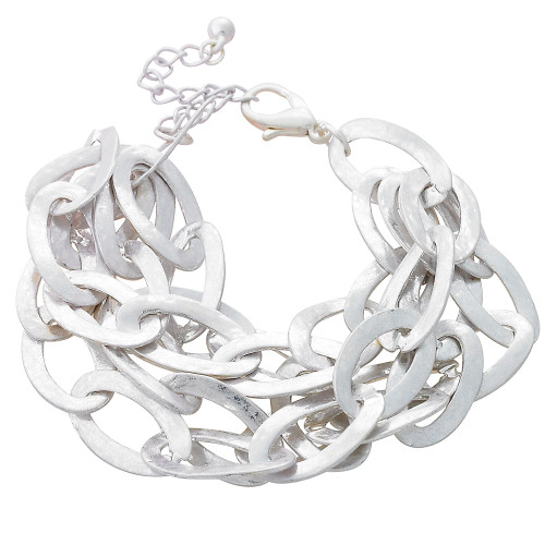 Textured Multi chain Bracelet Silver