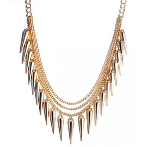 Matte Gold Sugar and Spikes Necklace