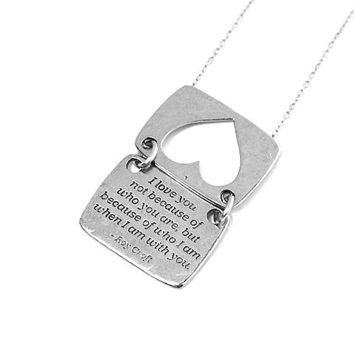 Silver Love Note Heart Shaped Necklace