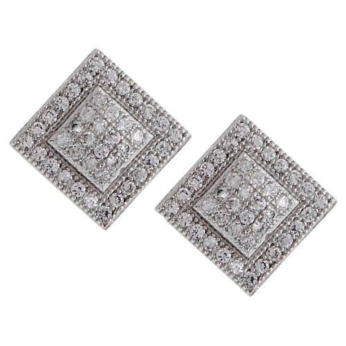 Square Within a Square Micro Pave Post Earrings