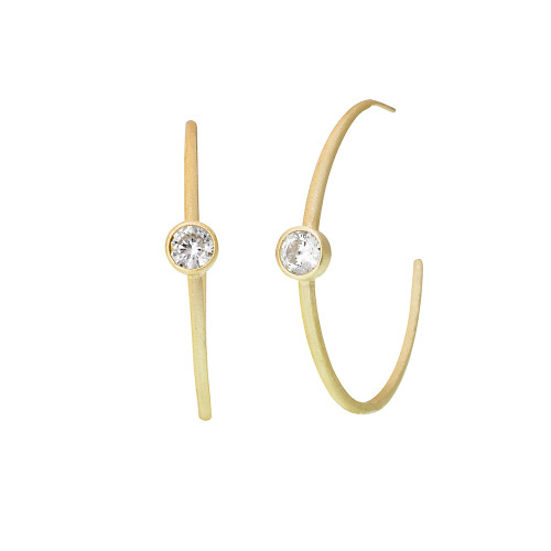 "2"" Size Matt Gold Hoop with Solitaire Crystal"