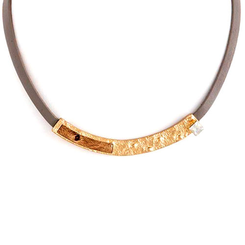 Metal Bar with Crystal and Leather Necklace