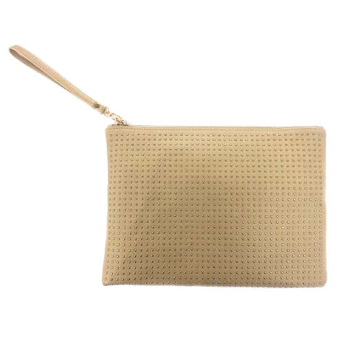Gold Studded Tan Zippered Clutch