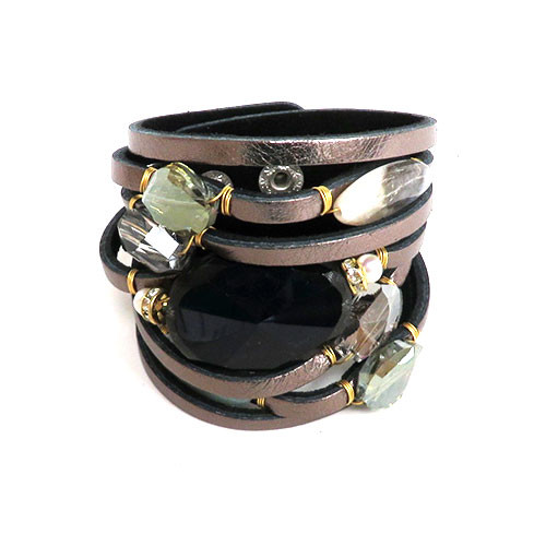 Semi-Precious Stones, Crystals and Leather Cuff 1