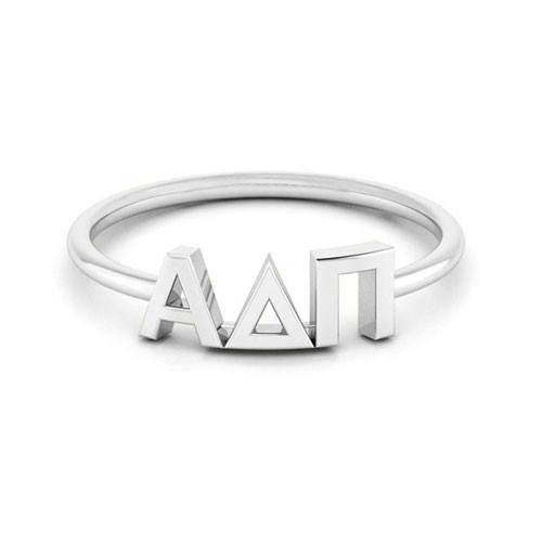 Alpha Delta Pi Silver Thin Band Letter Ring