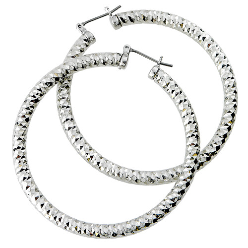 "Diamond Cut 2"" Hoops Silver"