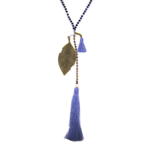 Zacasha's Crystals, Leaves and Purple Tassels Necklace