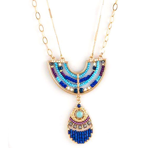 Long Beaded Mosaic Pendant Necklace