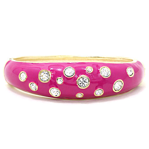 Pink Enamel and Crystal Dots Bracelet