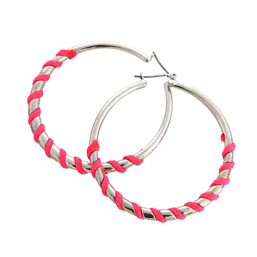 Bright Pink Wrapped Silver Hoops