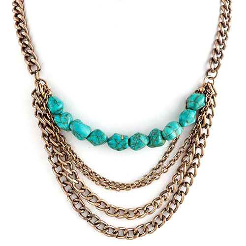 Draped Chains and Turquoise Necklace