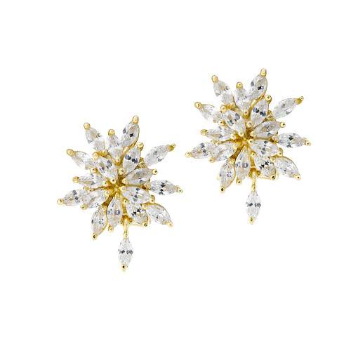 Golden Starburst Cluster Earring