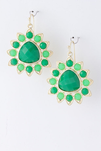 Emerald Green Sunburst Dangle Earring